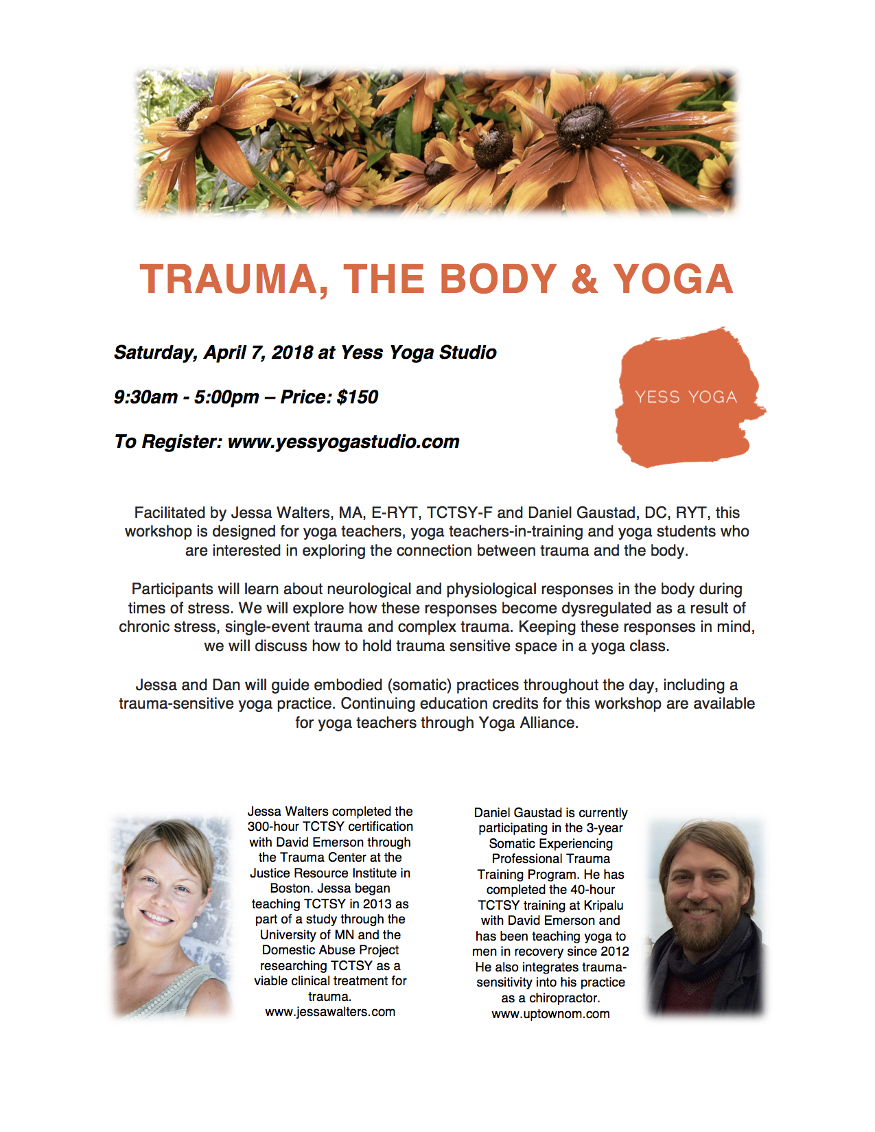 Trauma, The Body and Yoga at Yess Yoga Studio - April 7, 2018